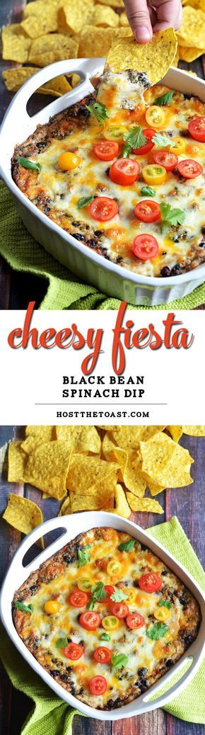 Cheesy Fiesta Black Bean Spinach Dip. This dip is bound to be a new favorite, and it's easy to make! Bake it for Cinco de Mayo or your next party. It's ADDICTIVE. | http://hostthetoat.com