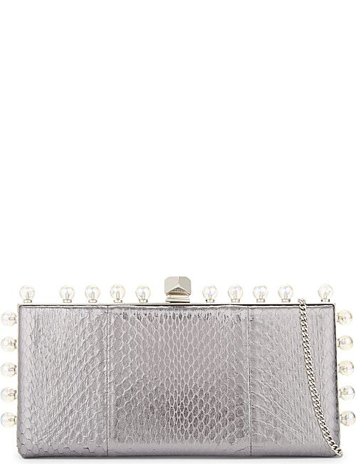 JIMMY CHOO Celeste metallic snakeskin clutch