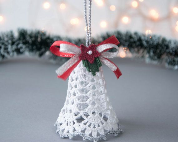 Crochet Christmas bell Crochet Christmas ornament Christmas tree decoration Christmas white silver decor Cristmas gift Winter wedding decor