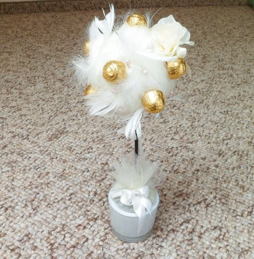 Drzewko z cukierków PIÓRKA Ecru Prezent na ślub, rocznicę ślubu