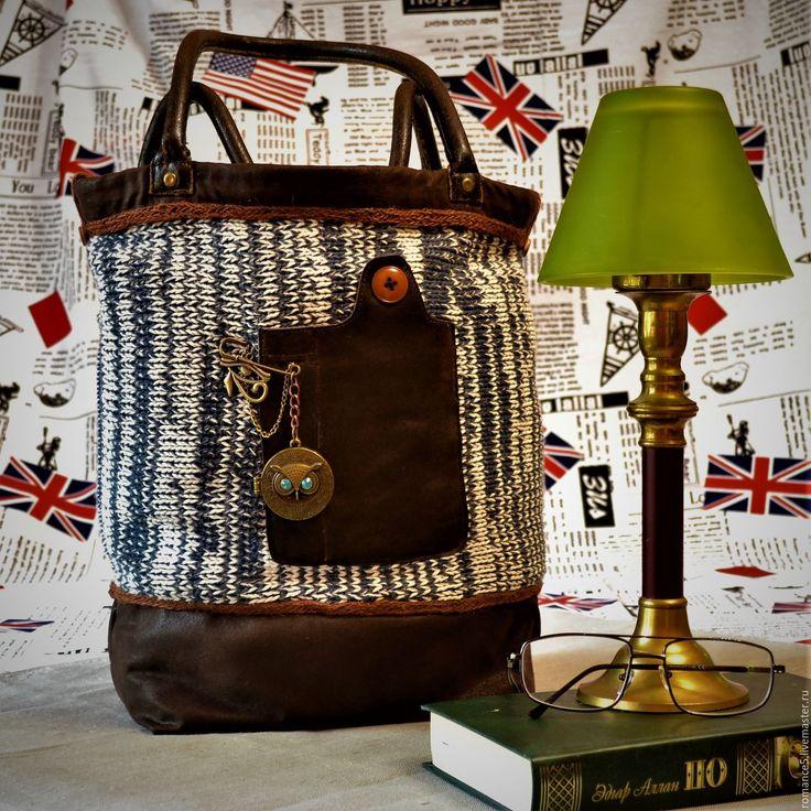 """Купить Текстильная сумка комбинированная """"Винтаж"""" - коричневый, комбинированная сумка, сумка женская, сумка текстильная"""