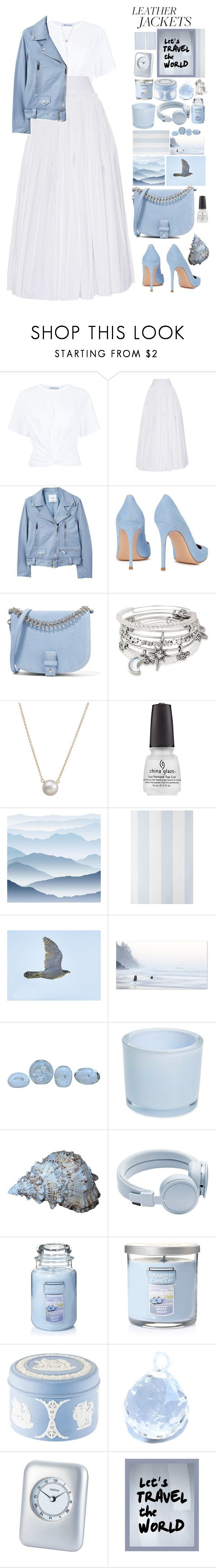 """""""Leather jacket"""" by foximperial ❤ liked on Polyvore featuring T By Alexander Wang, Alberta Ferretti, MANGO, Gianvito Rossi, Little Liffner, Alex and Ani, Dogeared, York Wallcoverings, Anthropologie and Drew Doggett Photography"""