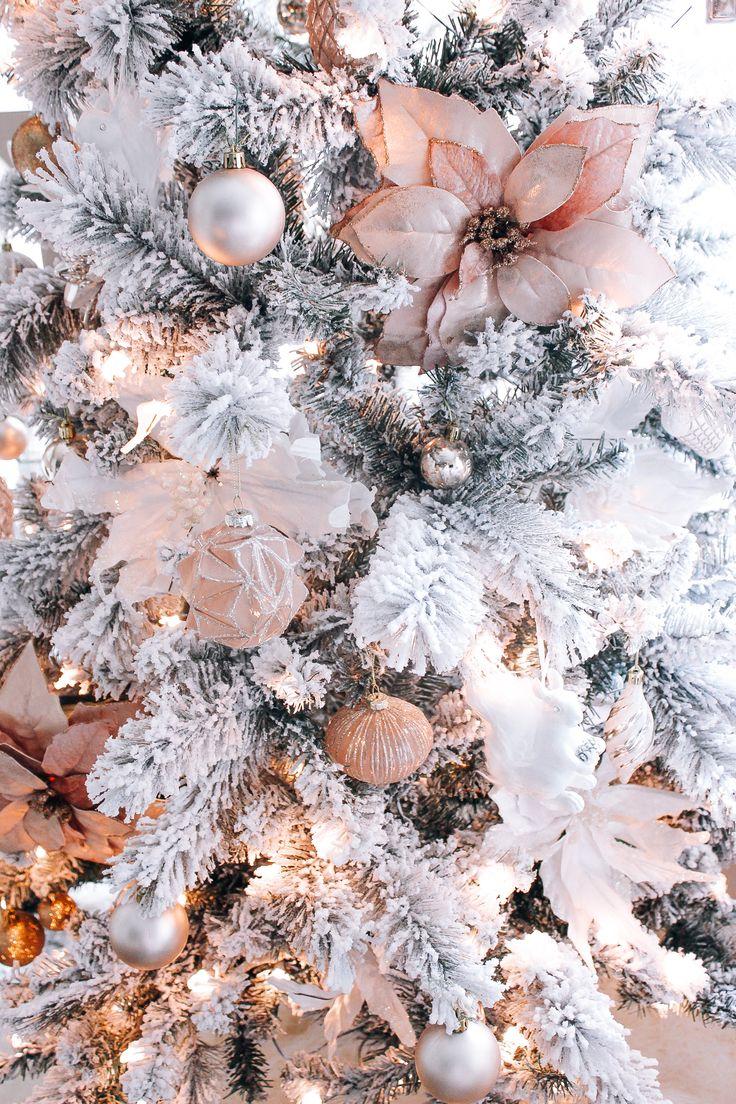 Blush pink rose gold white christmas decor blondie - Blush pink christmas decorations ...