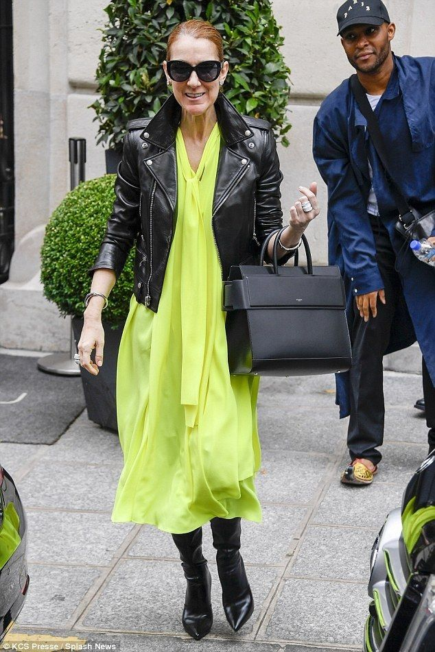 Celine Dion looks in high spirits in neon yellow dress - Celebrity Fashion Trends