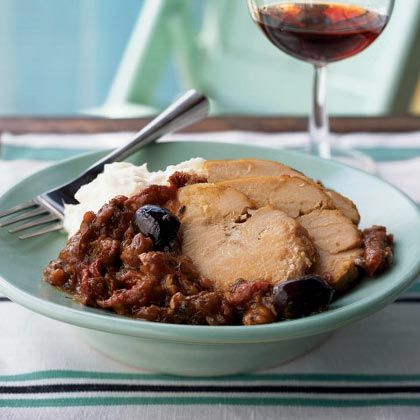 Mediterranean Roast Turkey.  Slowly cooking a lean turkey breast in a medley of Mediterranean ingredients like kalamata olives, sun-dried tomatoes, and Greek seasoning, yields a tender, juicy, and flavorful supper.