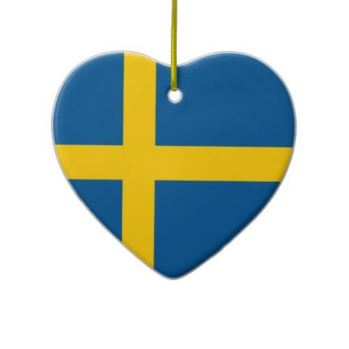 Sweden Flag Heart Ornament