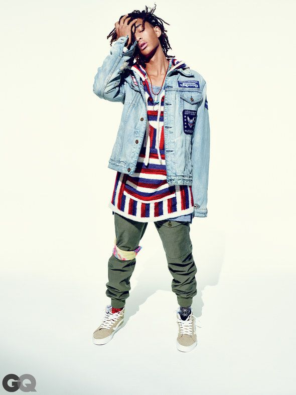 Jaden Smith wears customized jacket NSF, hoodie The Elder Statesman, tank John…