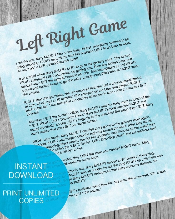 Printable Left Right Baby Shower Game   Blue Green Watercolor   Print It  Baby