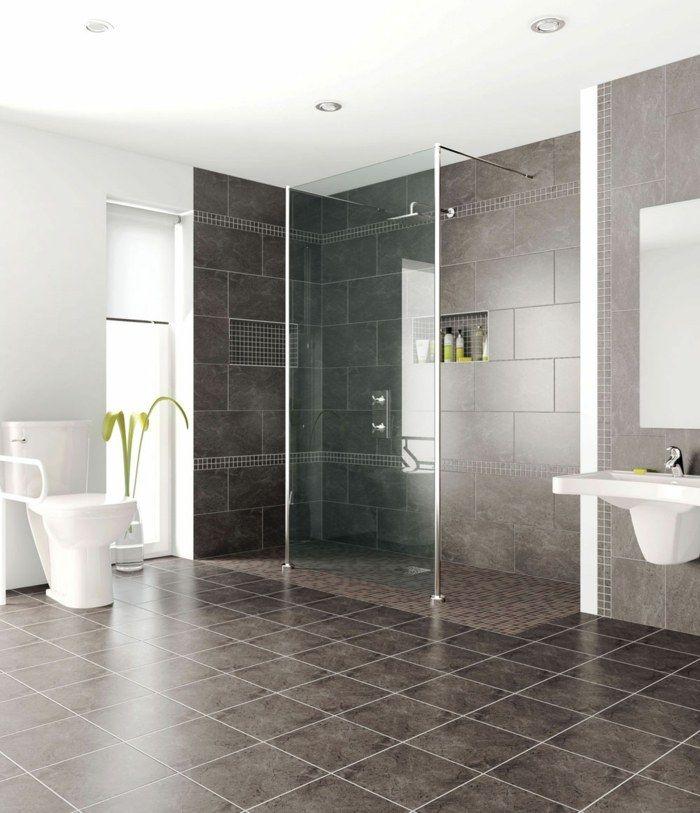 salle de bains design moderne avec une douche italienne et toilettes - Decoration Douche Et Toilette