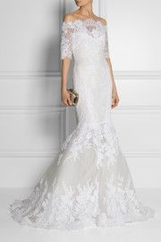 MarchesaEmbellished lace and tulle gown