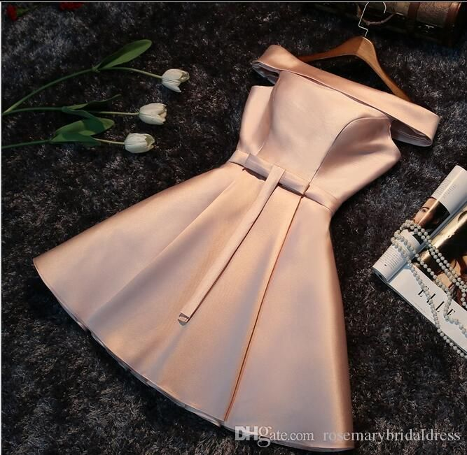 Cheap Bateau Neckline Real Photos Bridesmaid Dresses 2016 Short Knee Length Bow Red Champagne Gray Pink Wedding Party Gowns Fast Shipping Bridesmaid Dresses Canada Online Bridesmaid Dresses Chiffon From Rosemarybridaldress, $28.15| Dhgate.Com