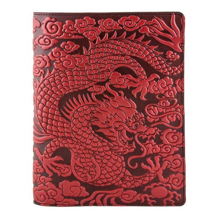 Cloud Dragon Leather Composition Notebook Cover red 8.25x10.25 Oberon Design #OberonDesign