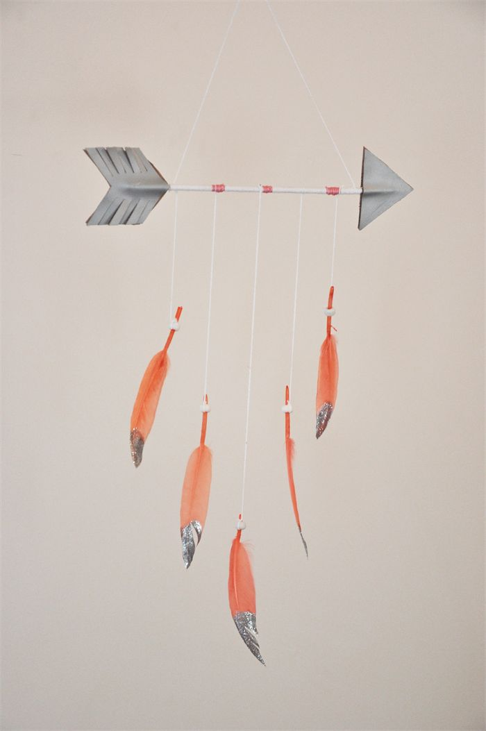 Arrow Mobile, Feather Mobile, Coral - Silver,  Tribal Baby Nursery