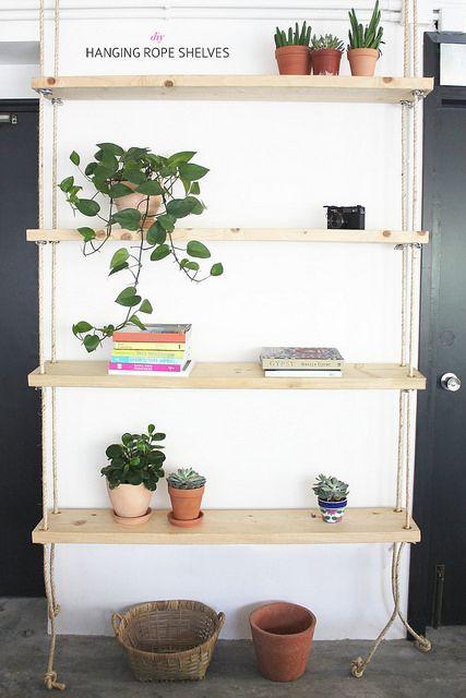 DIY Hanging Rope Shelves Tutorial