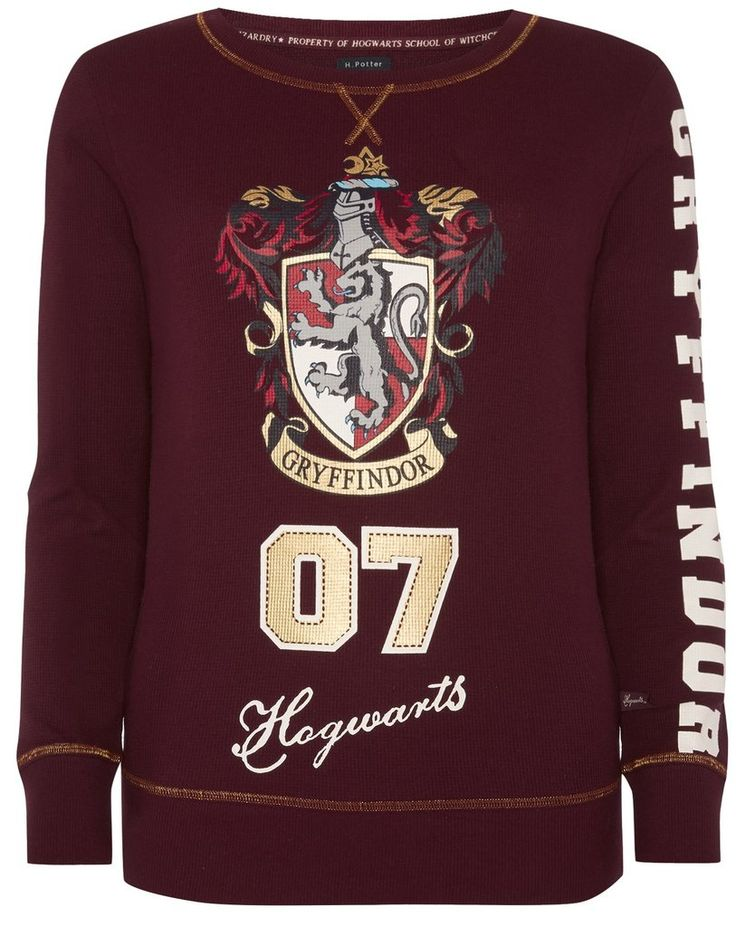 PRIMARK HARRY POTTER T-Shirt GRYFFINDOR Long Womens Ladies UK Size 6 - 20 NEW