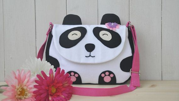 Shoulder Bag Panda (cute bag made of cotton fabric with felt decorations, adjustable strap, lining, magnetic botton closure)