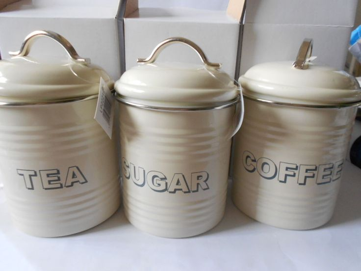 cream kitchen storage jars trendy vintage tea coffee amp sugar tins kitchen 6283