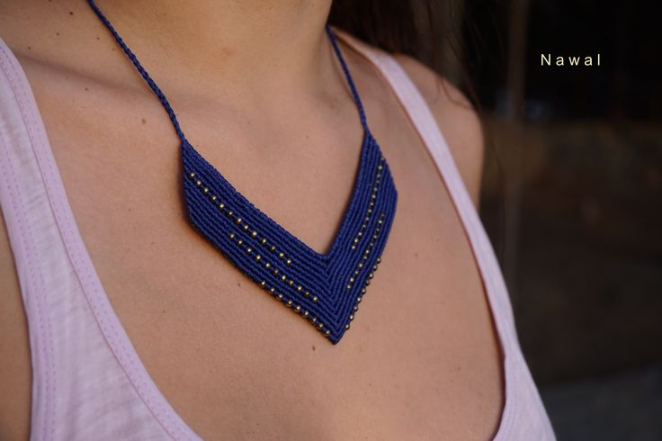 Blue wide macrame necklace, with brass beads - Limited edition, boho style, gipsy necklace, handmade necklace, adjustable length!!