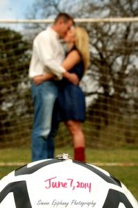 Soccer Engagement Photo by Simone Epiphany Photography in Austin Texas.