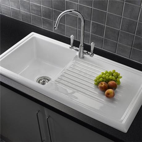 Reginox White Ceramic 1.0 Bowl Kitchen Sink with Elbe Tap