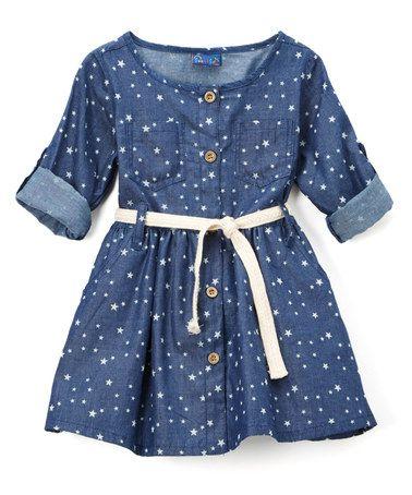 Dark Blue Denim Star Button-Up Dress - Infant & Toddler #zulily #zulilyfinds