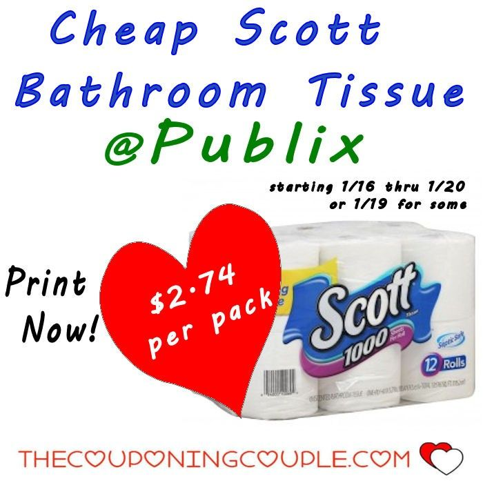 Cheap Scott Bath Tissue @ Publix Starting 1/16. Get your coupons ready for this deal folks! This is a great stock up price for Scott Bathroom Tissue 12-roll packs!  Click the link below to get all of the details ► http://www.thecouponingcouple.com/cheap-scott-bath-tissue-publix-starting-116/ #Coupons #Couponing #CouponCommunity  Visit us at http://www.thecouponingcouple.com for more great posts!