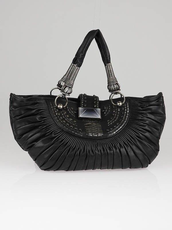 f97f41f265a Christian Dior Black Pleated Lambskin Plisse Small Tote Bag | in ...