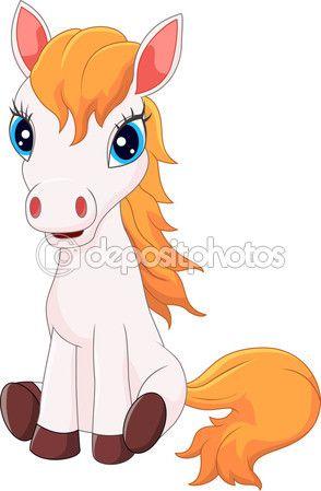 Sesión de dibujos animados lindo pony caballo — Vector de stock ...