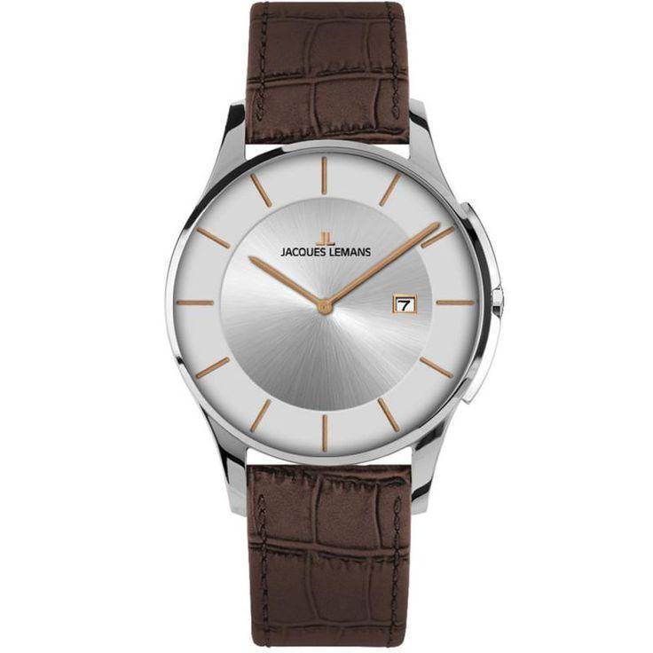 Ρολόγια : Ρολόι Jacques Lemans London Brown Leather Strap - 1-1777M