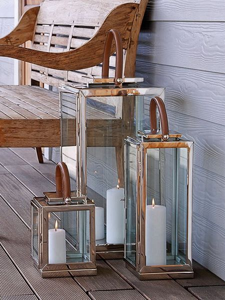 Stainless and Leather Lanterns - Nordic House