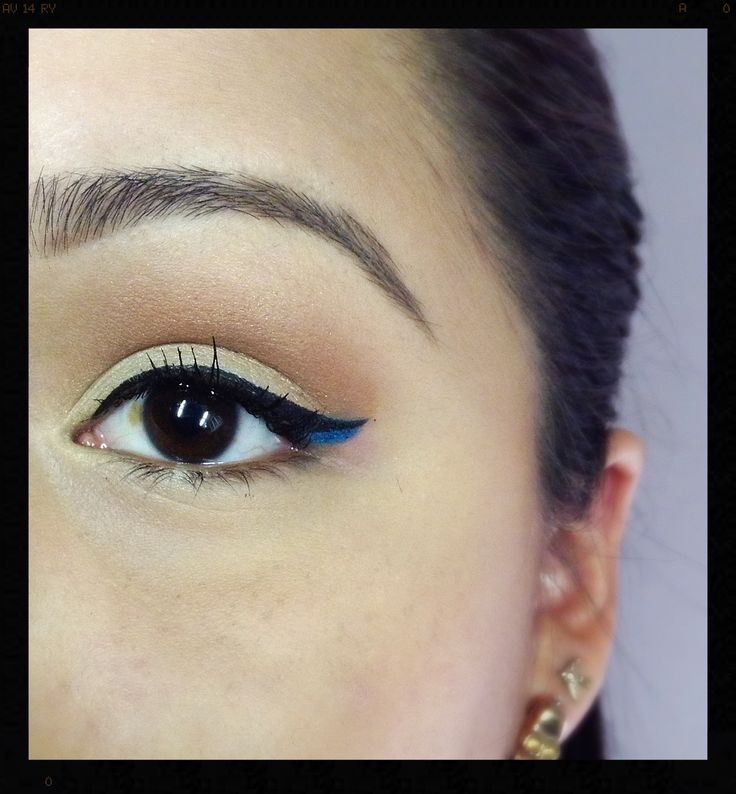 Pop of colour, add a Blue liner under the flick of your cat eye.