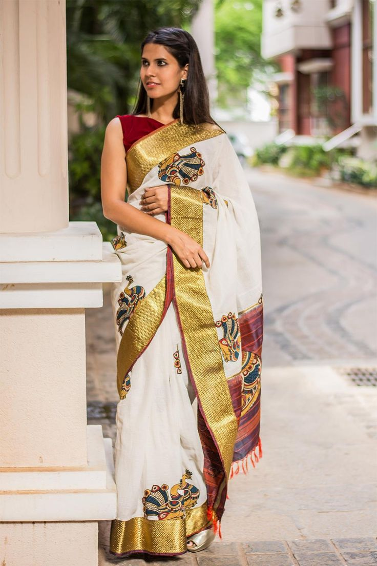 A beautifully Kalamkari worked creation! In a Gadwal cotton kota with a pure silk border and pallu, appliquéd with Kalamkari motifs and zari work. This would be a lovely saree to own in a true Kalamkari tradition.Pair with any color in the border or Kalamkari work and you'll be all set! This saree can be paired in many interesting ways with textural and intricately worked blouses too. #kalamkari #gadwal #saree #India #blouse #houseofblouse