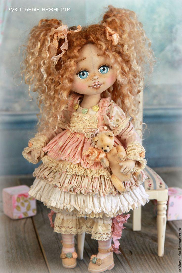 Купить Мирабелла . Кукла авторская текстильная - кремовый, розовый, розы, белый, шебби, шебби-шик