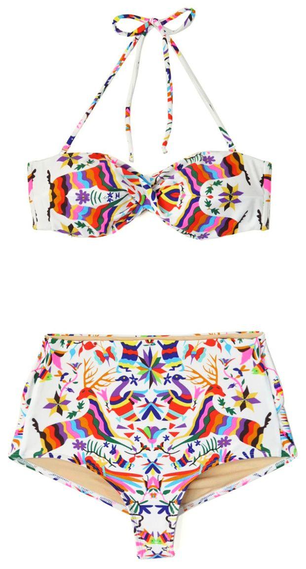 Mara Hoffman : Festive high-waisted bandeau bikini