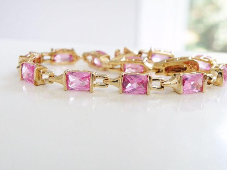14K Gold over Sterling Silver Genuine Pink Sapphire Tennis Station Bracelet #Designer #Tennis