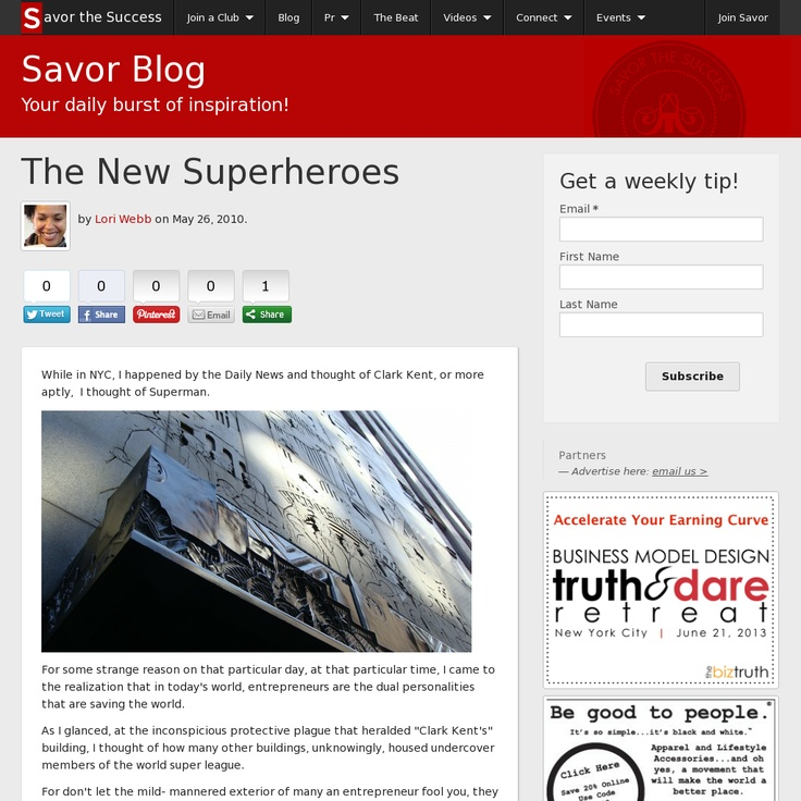 """""""The New Superheroes"""" featuring @Mike Michalowicz  Official Blogpost for Savor the Success. Website 'http://www.savorthesuccess.com/blog/lori-webb/the-new-superheroes' snapped on Snapito!"""