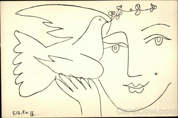 Picasso Lady Holding Dove with Olive Branch