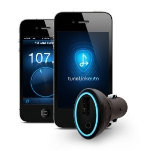 Bluetooth to Aux-in Car Kit. I love this product. No cable is needed to connect your iPhone to you car audio with aux.