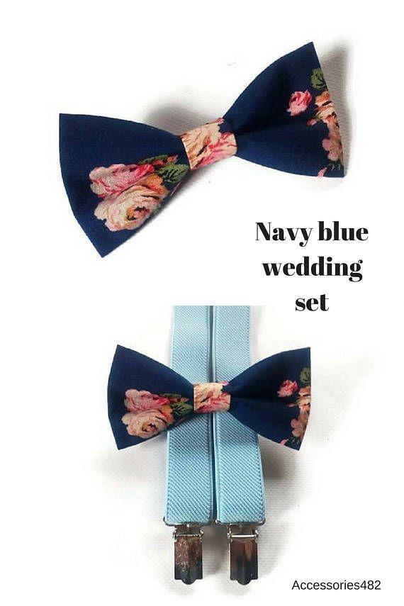 baby blue suspenders set of bow tie dark blue in roses
