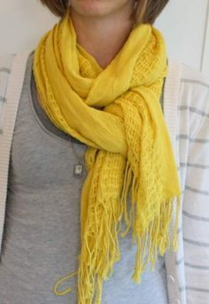 How to tie a scarf- easy and cute... Just looked outside and it's snowing. :)