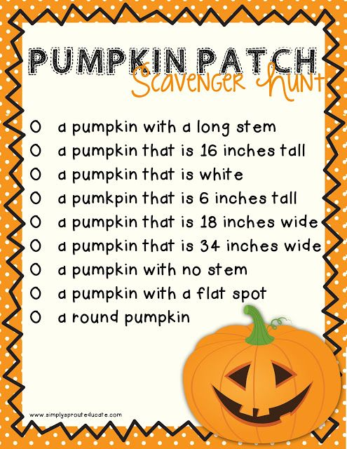 Pumpkin math scavenger hunt for kids! This would be fun to do on our field trip there :)