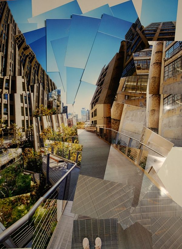 This is a Photo joiner of the New York Highline. I created this using about 50 images all from a single stationary position. My technique was inspired by artist, David Hockney.