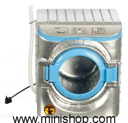 Silver Washing Machine, Dollhouse Miniature