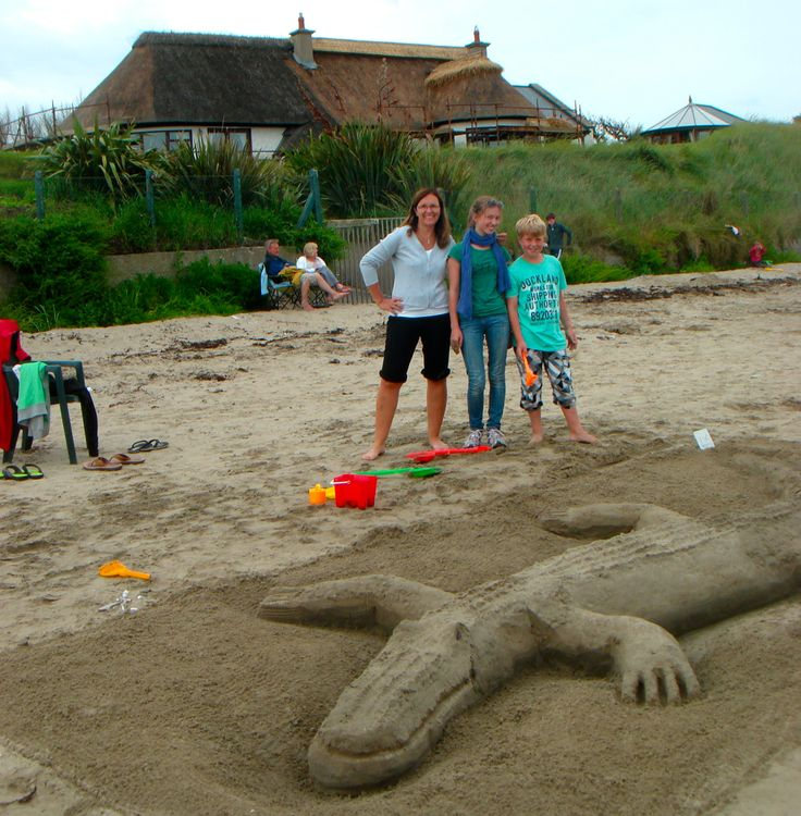 The Schueler Family from Germany with their winning crocodile sandcastle at the 2012 National Sandcastle Competition in Bettystown.  Well Done Guys we love it!