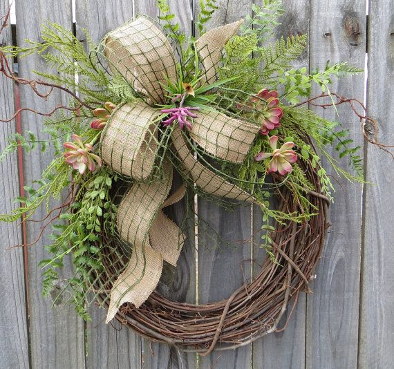 Wreath with Burlap and Succulents, Wreath for all Year, Succulent Burlap Wreath, Everyday Wreath, Wreath for Door Mantle or Wall