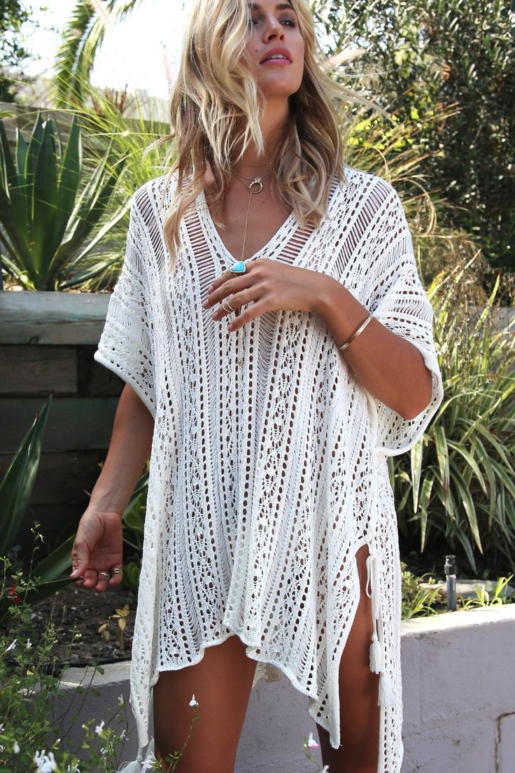 $31.15 – 2019 New Beach Cover Up Bikini Crochet Knitted Tassel Tie Beachwear Summer Swimsuit …