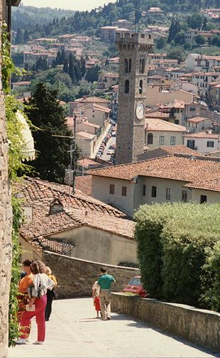 Fiesole, Italy overlooking Firenze, is charming and has a nearby set of Roman ruins.