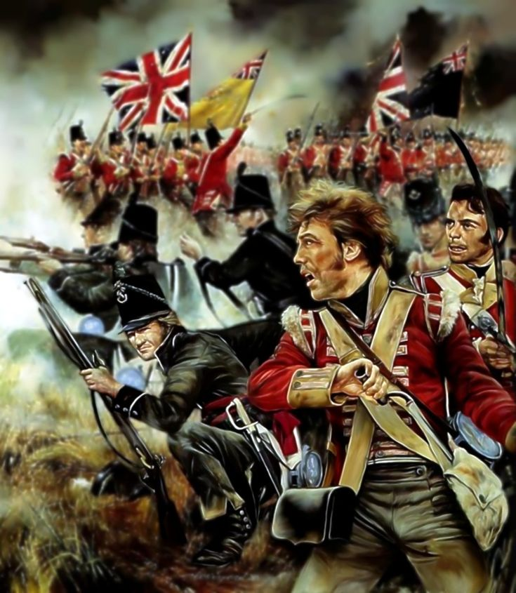 British 52nd Oxfordshire troops and the 95th Rifles in combat, Waterloo- by Chris Collingwood
