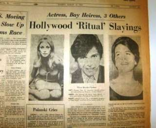 FAMILY Sharon Tate & More Hollywood MURDERS Photo Newspaper