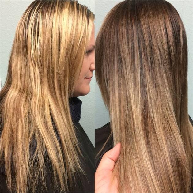 COLOR CORRECTION: Brassy Blonde to Sombre Brunette Using Balayage - Career - Modern Salon